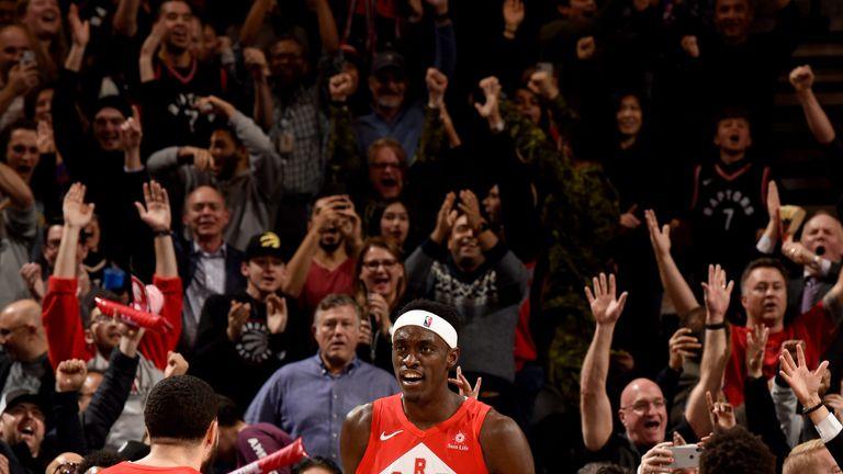 Pascal Siakam celebrates his game-winning basket at the buzzer