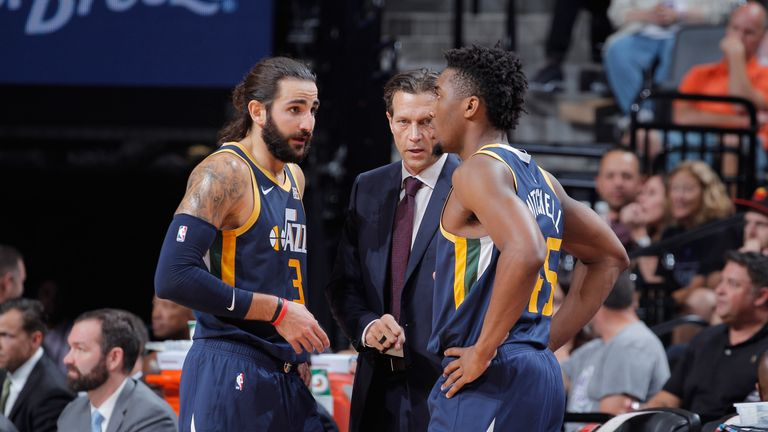 Rubio and Mitchell in conversation with coach Quin Snyder