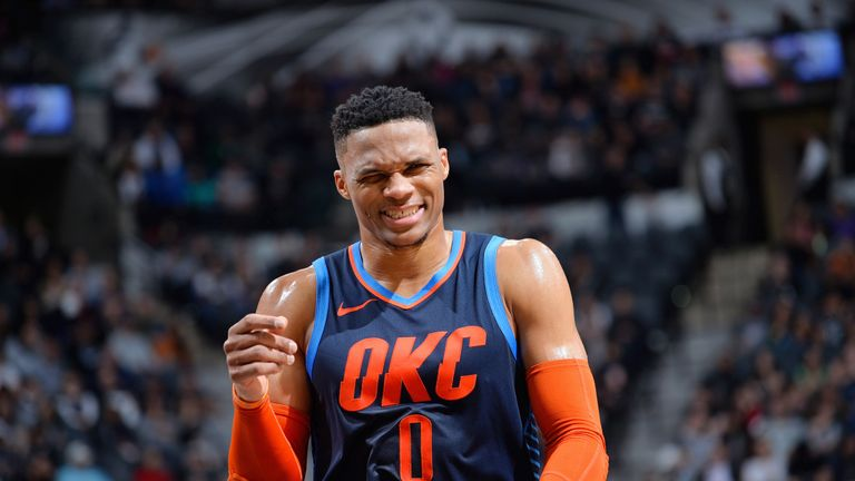 Russell Westbrook celebrates after scoring against the Spurs
