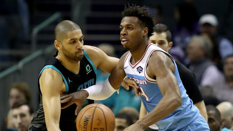 Buddy Hield is dispossessed in the Kings loss to the Hornets