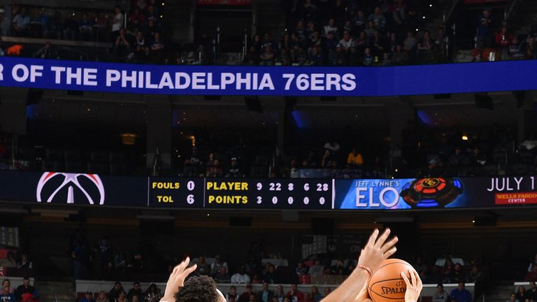 PHILADELPHIA, PA - JANUARY 8: Landry Shamet #1 of the Philadelphia 76ers handles the ball against the Washington Wizards  on January 8, 2019 at the Wells Fargo Center in Philadelphia, Pennsylvania NOTE TO USER: User expressly acknowledges and agrees that, by downloading and/or using this Photograph, user is consenting to the terms and conditions of the Getty Images License Agreement. Mandatory Copyright Notice: Copyright 2019 NBAE (Photo by Jesse D. Garrabrant/NBAE via Getty Images)