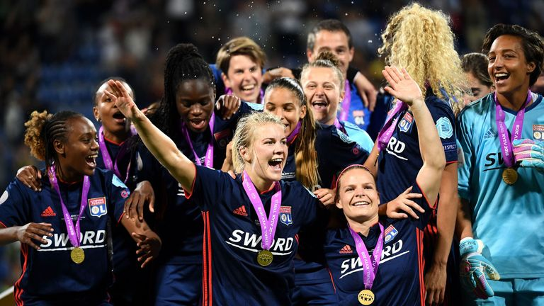 Ada Hegerberg and the Lyon team celebrate their 2018 Champions League success