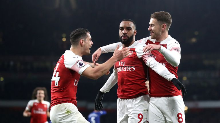 Arsenal's Alexandre Lacazette celebrates scoring his side's first goal of the game