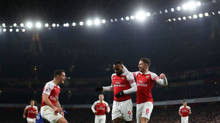 Alexandre Lacazette celebrates his wonderful opener against Chelsea