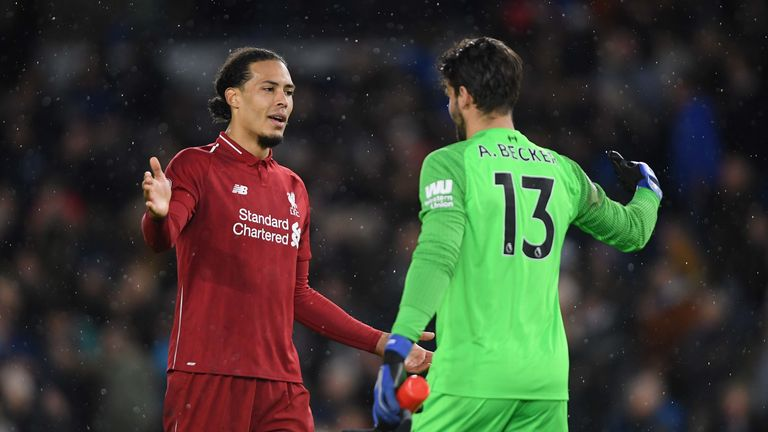 Alisson and Virgil van Dijk celebrate following Liverpool's Premier League win at Brighton.