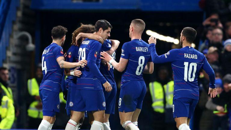 Chelsea celebrate Alvaro Morata's opener