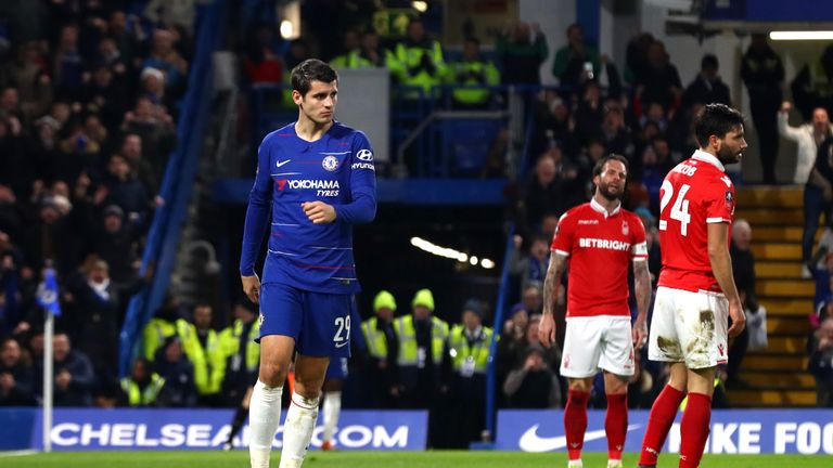 Alvaro Morata during the FA Cup Third Round match between Chelsea and Nottingham Forest at Stamford Bridge on January 5, 2019 in London, United Kingdom.