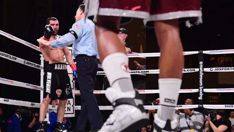 Artur Akavov was livid after referee Arthur Mercante Jr stopped it