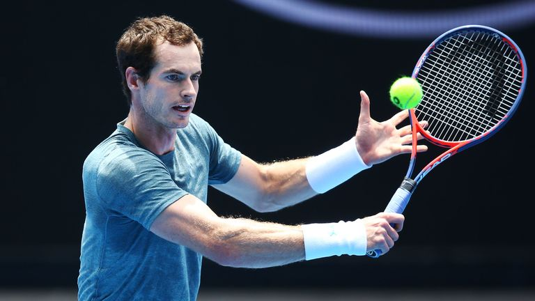 Andy Murray struggled throughout his practice match against Novak Djokovic