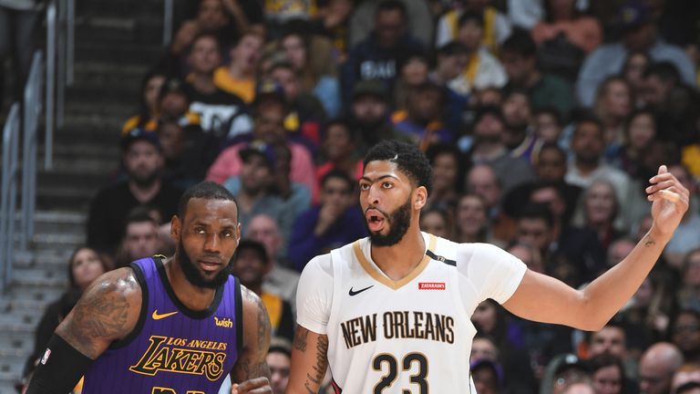 Anthony Davis with LeBron James of the Lakers