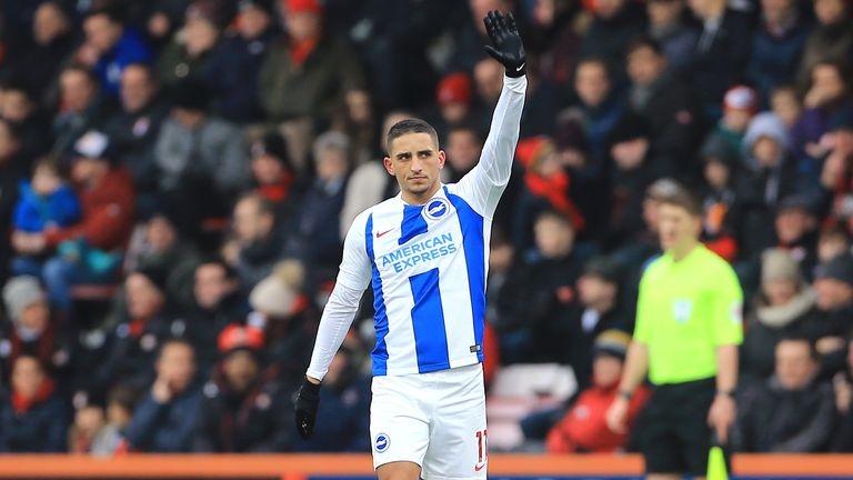 Brighton Anthony Knockaert celebrates scoring against Bournemouth in the FA Cup