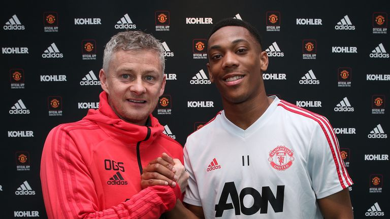 Ole Gunnar Solskjaer poses with Anthony Martial