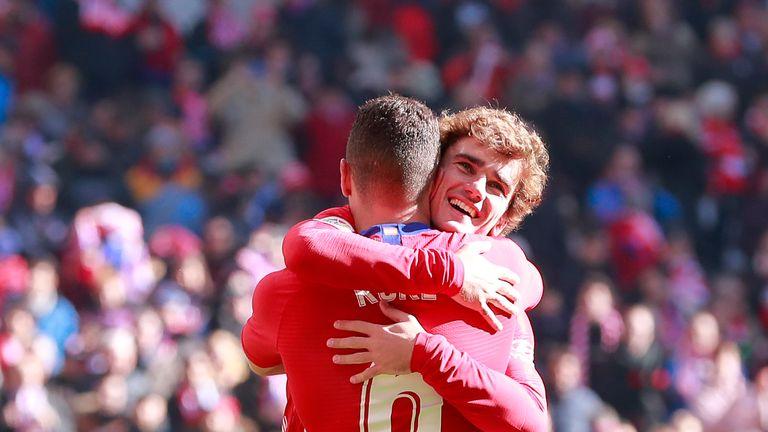 Atletico Madrid striker Antoine Griezmann celebrates his winner against Levante