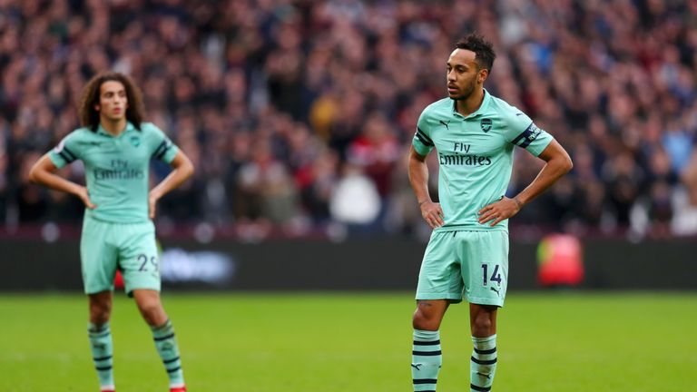 during the Premier League match between West Ham United and Arsenal FC at London Stadium on January 12, 2019 in London, United Kingdom.