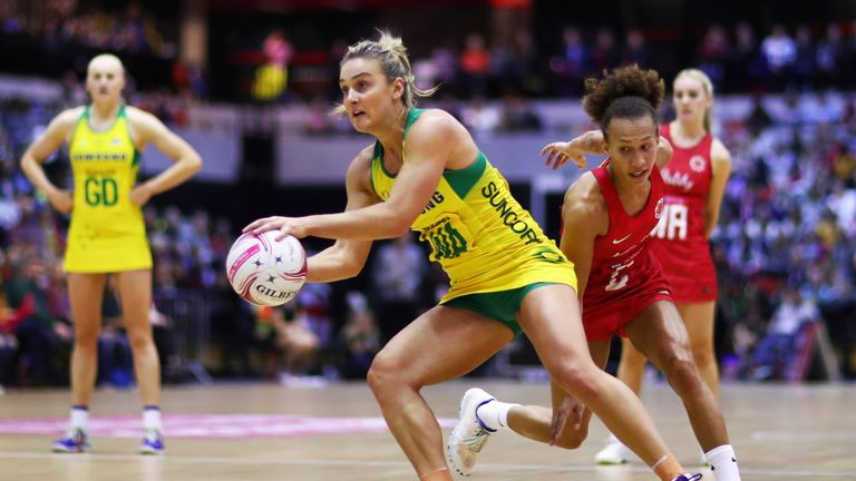 Elizabeth Watson of Australia in action during the Vitality Netball International Series match between England Vitality Roses and Australian Diamonds, as part of the Netball Quad Series at Copper Box Arena on January 20, 2019 in London, England