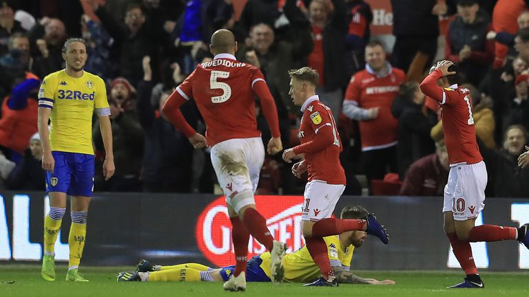 Ben Osborn celebrates after sealing victory for Forest