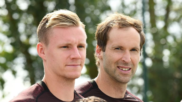 Bernd Leno and Petr Cech during the first team squad photo at London Colney on September 18, 2018
