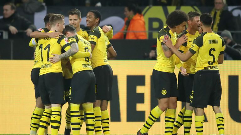 during the Bundesliga match between Borussia Dortmund and Hannover 96 at Signal Iduna Park on January 26, 2019 in Dortmund, Germany.
