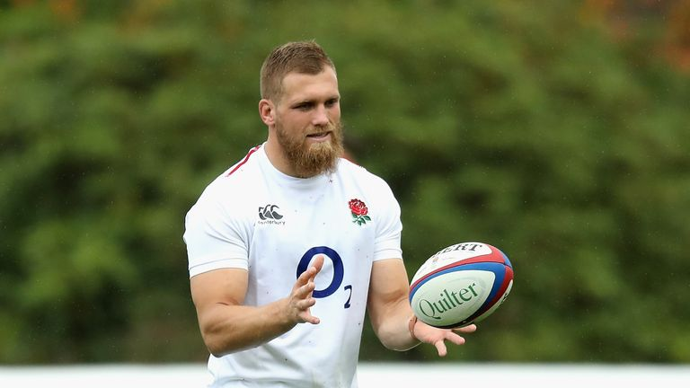 Brad Shields catches the ball during the England captain's run at Pennyhill Park on November 9, 2018 in Bagshot, England.