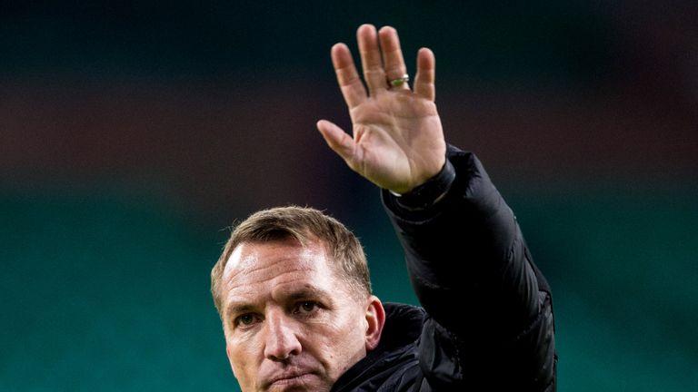 23/01/19 LADBROKES PREMIERSHIP.CELTIC V ST MIRREN.CELTIC PARK - GLASGOW.Celtic manager Brendan Rodgers applauds the fans at full time