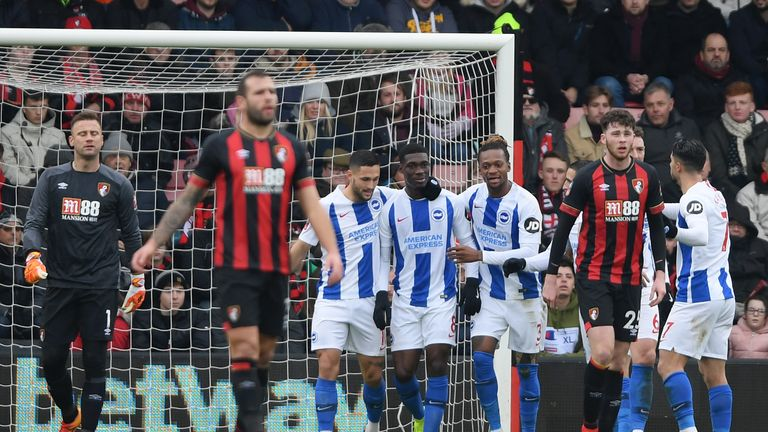 yves bissouma during the FA Cup Third Round match between AFC Bournemouth and Brighton and Hove Albion at Vitality Stadium on January 5, 2019 in Bournemouth, United Kingdom.