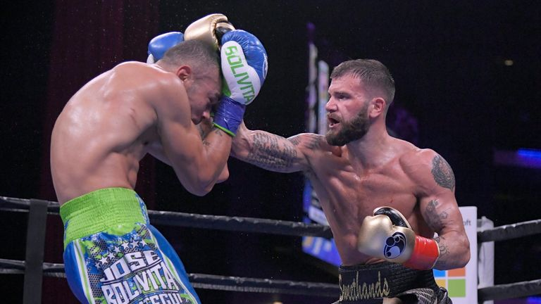 Caleb Plant lands a punch against Jose Uzcategui in the sixth round at Microsoft Theater in Los Angeles