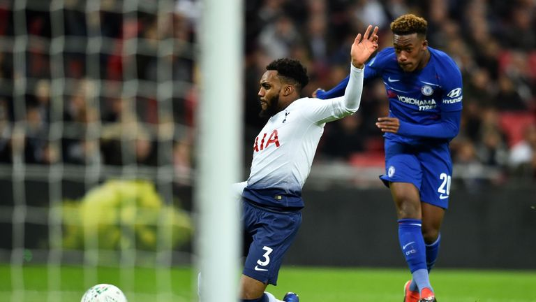 Hudson-Odoi fires off a shot as Tottenham's Danny Rose challenges