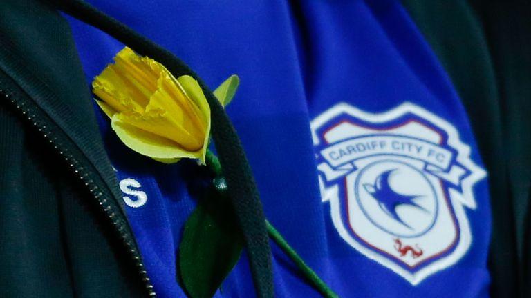 A Cardiff fan wears a yellow daffodil in honour of missing footballer Emiliano Sala