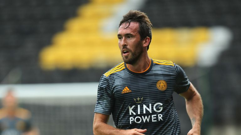 Christian Fuchs during the pre-season friendly match between Notts County and Leicester City at Meadow Lane on July 21, 2018 in Nottingham, England.