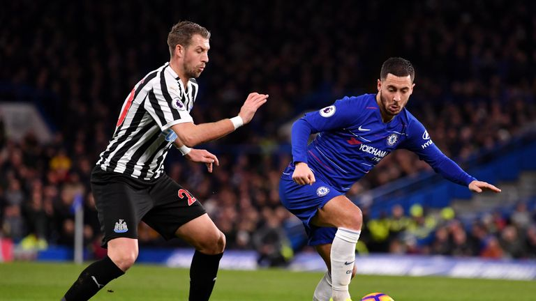 Hazard drifted outside of the box in search of the ball against Newcastle