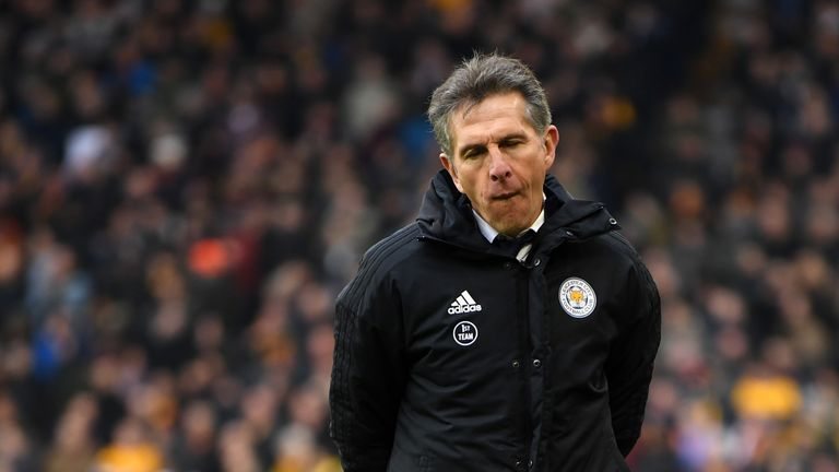 Claude Puel during the Premier League match between Wolverhampton Wanderers and Leicester City at Molineux