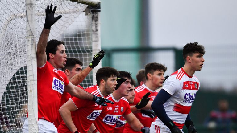 You shall not pass: Cork players defend a free during the McGrath Cup semi-final against Limerick