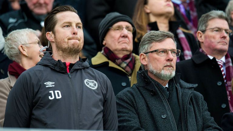 Hearts manager Craig Levein watched the game from the stands while serving a one-match touchline ban