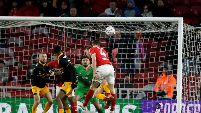 Daniel Ayala scores for Middlesbrough against Newport County