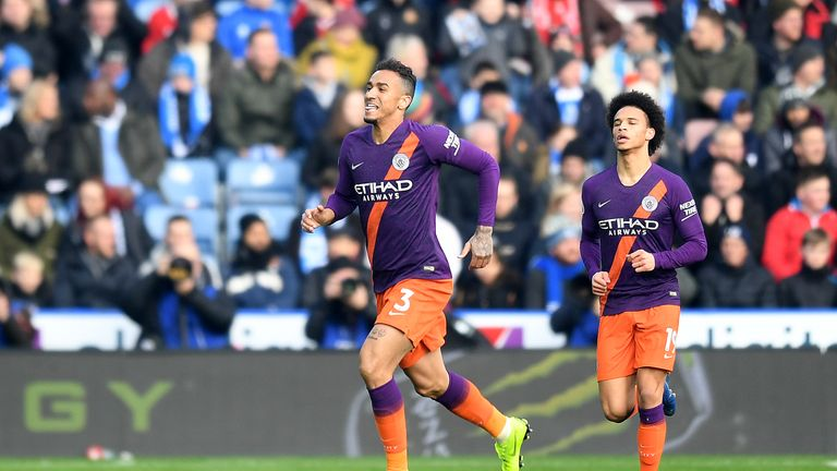 Danilo celebrates scoring for Manchester City vs Huddersfield