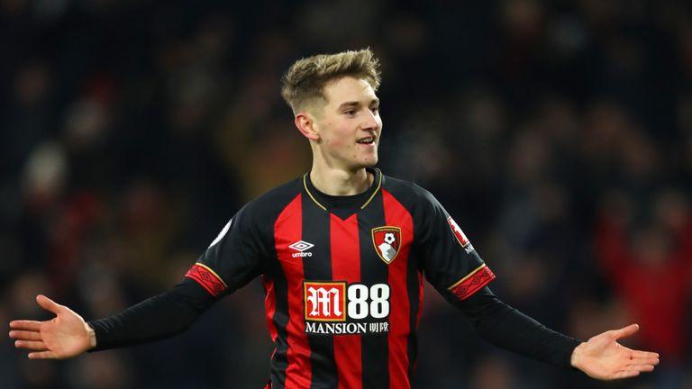 David Brooks celebrates after scoring Bournemouth's second goal