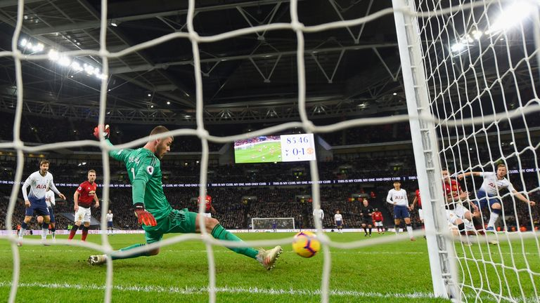 David de Gea during the Premier League match between Tottenham Hotspur and Manchester United at Wembley Stadium on January 13, 2019 in London, United Kingdom.