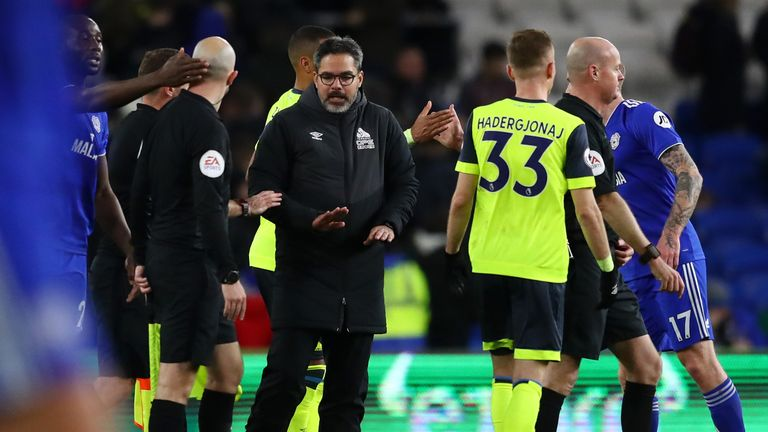 Huddersfield boss David Wagner protests with the officials after the draw