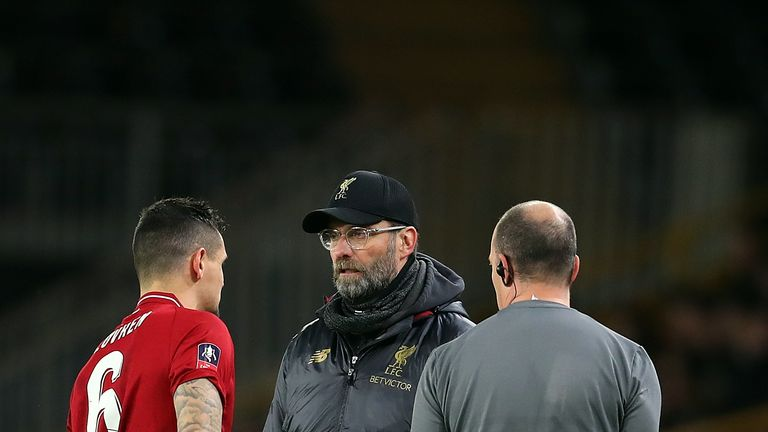 Lovren left the pitch holding his left hamstring after just a few minutes