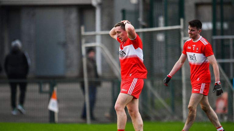 Full time: Sean Quinn and Patrick Coney of Derry dejected after the narrow loss to Tyrone