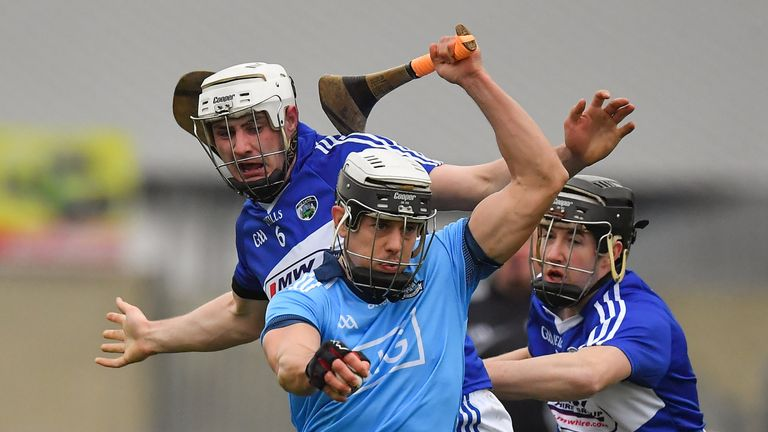 Caught in a tangle: Cian Boland of Dublin evades Ryan Mullaney and Colm Stapleton of Laois