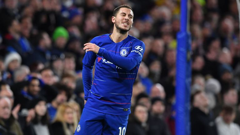 Eden Hazard reacts after missing a chance