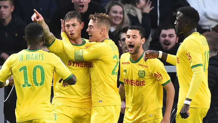 Emiliano Sala celebrates after scoring for Nantes