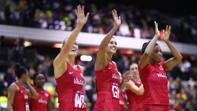 Team England show their support for the fans after the Vitality Netball International Series match between England Vitality Roses and South Africa, as part of the Netball Quad Series at Copper Box Arena on January 19, 2019 in London, England