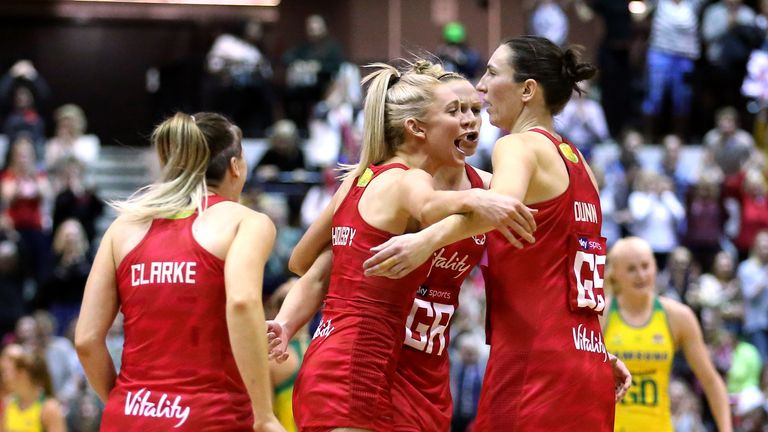 Jade Clarke (left) Helen Housby (second left), Jo Harten (second right) and Rachel Dunn (right) celebrate their wonderful win over the Diamonds