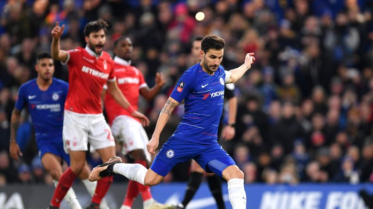 Cesc Fabregas sees his penalty saved by Nottingham Forest's Luke Steele