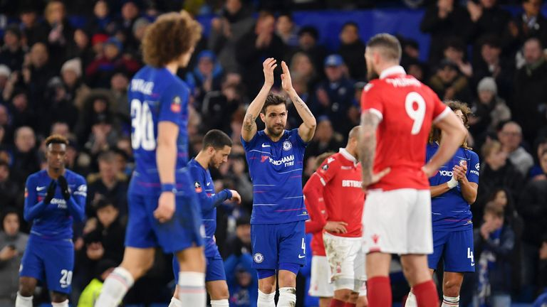 Fabregas was handed an emotional standing ovation in the dying minutes
