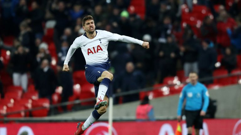 Fernando Llorente celebrates scoring Tottenham's winner
