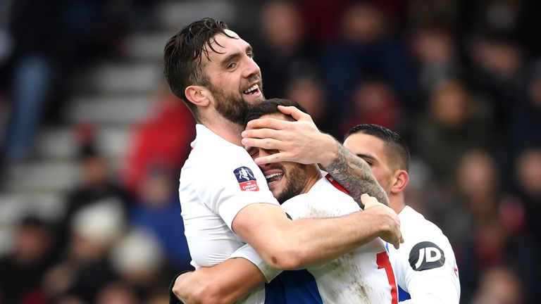 Shane Duffy and Florin Andone during the FA Cup Third Round match between AFC Bournemouth and Brighton and Hove Albion at Vitality Stadium on January 5, 2019 in Bournemouth, United Kingdom.