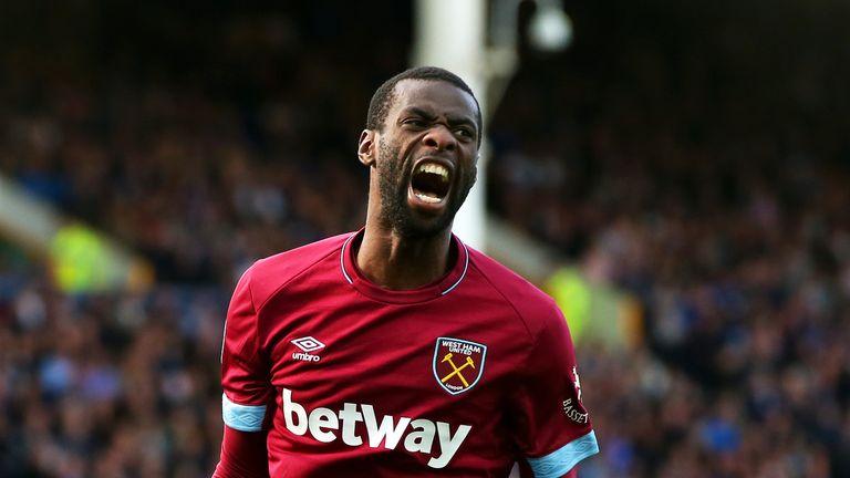 Pedro Obiang celebrates scoring against Everton
